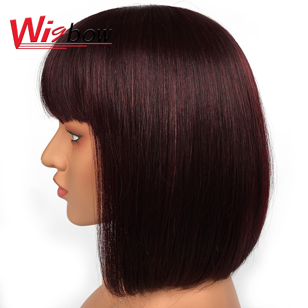 Cheap Human Hair Wig Short Bob Wigs With Bangs 8 Inch 99j/1B/ Burgundy Color Human Hair Wigs For Black Women With Free Shipping