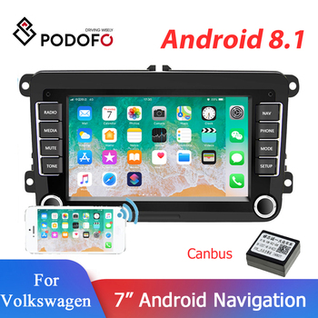 "Podofo 2 Din Android Car Multimedia Player FM Stereo Receiver 7"" GPS Bluetooth Autoradio Tape Recorder For VW/Golf 5/Polo/Passat image"