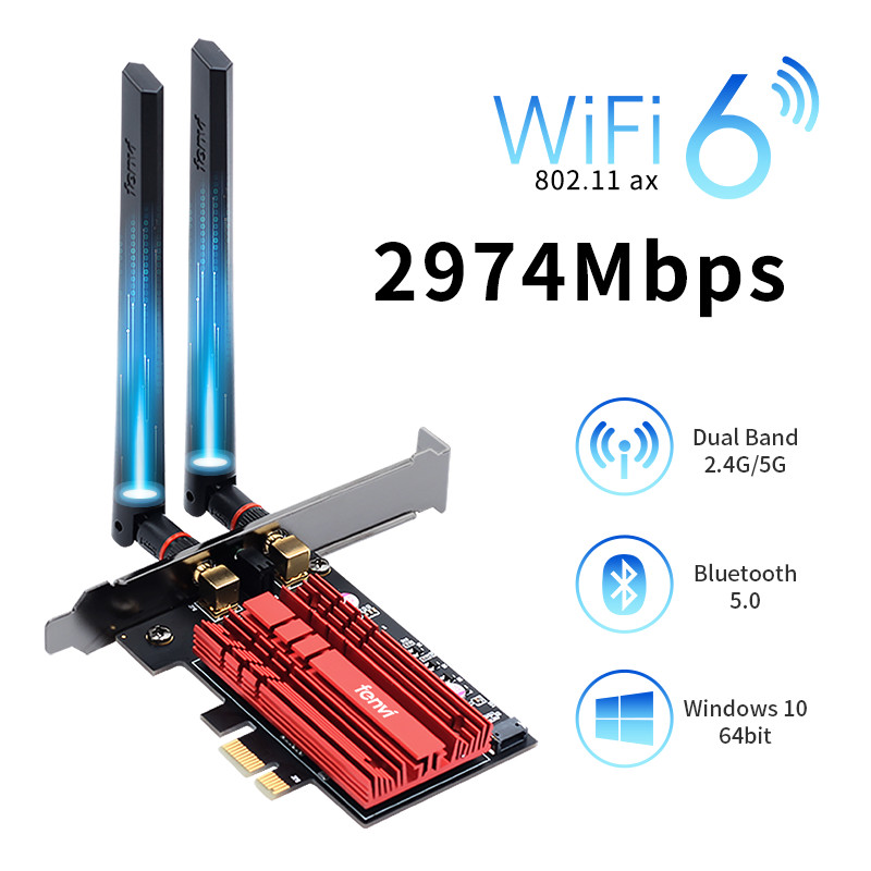 FV-AX3000 Dual Band 2 4Gbps WiFi 6 AX200 Gigabit Network Card Pcie Wifi Bluetooth 5 0 Wireless Adapter For Pc Desktop Windows 10