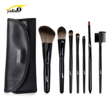Get more info on the YALIAO 7pcs Black Makeup Brushes Set  Synthetic Hair  Wooden Handle Blush Cheek Eye Shadow Lip Eyebrow Foundation Brush with Bag