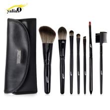 YALIAO 7pcs Black Makeup Brushes Set  Synthetic Hair  Wooden Handle Blush Cheek Eye Shadow Lip Eyebrow Foundation Brush with Bag 7pcs makeup brushes set with striped bag