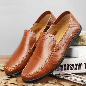 Image 2 - Zapatos casuales de cuero genuino para hombre 2019 mocasines transpirables zapatos de conducción negros talla grande 38 47 b1374