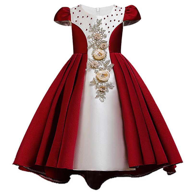 Dama de honor de lentejuelas bordadas princesa llevó un vestido de cola de perla primer vestido bordado de la muchacha para la fiesta de la Iglesia