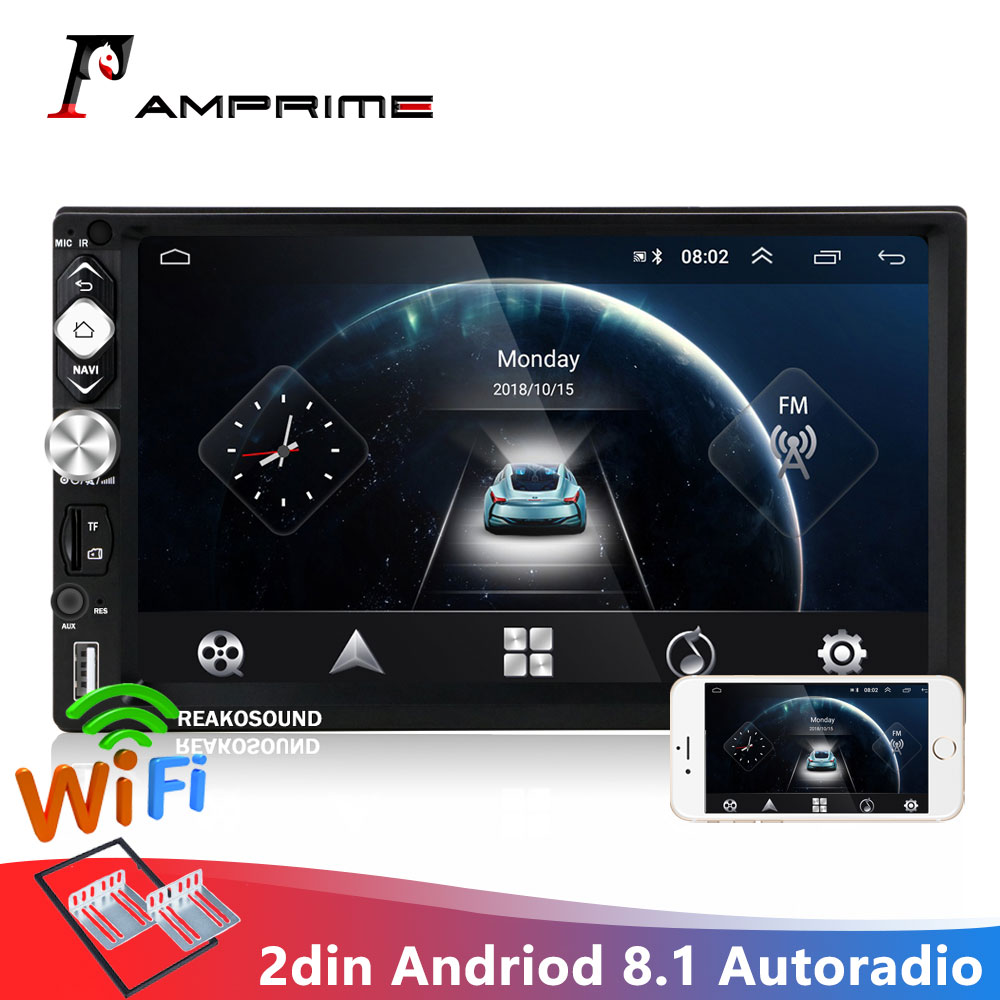 AMPrime 7''HD 2 Din Autoradio Andriod 8.1 lecteur multimédia Navigation GPS Bluetooth Audio Wifi USB FM MirrorLink 2 Autoradio