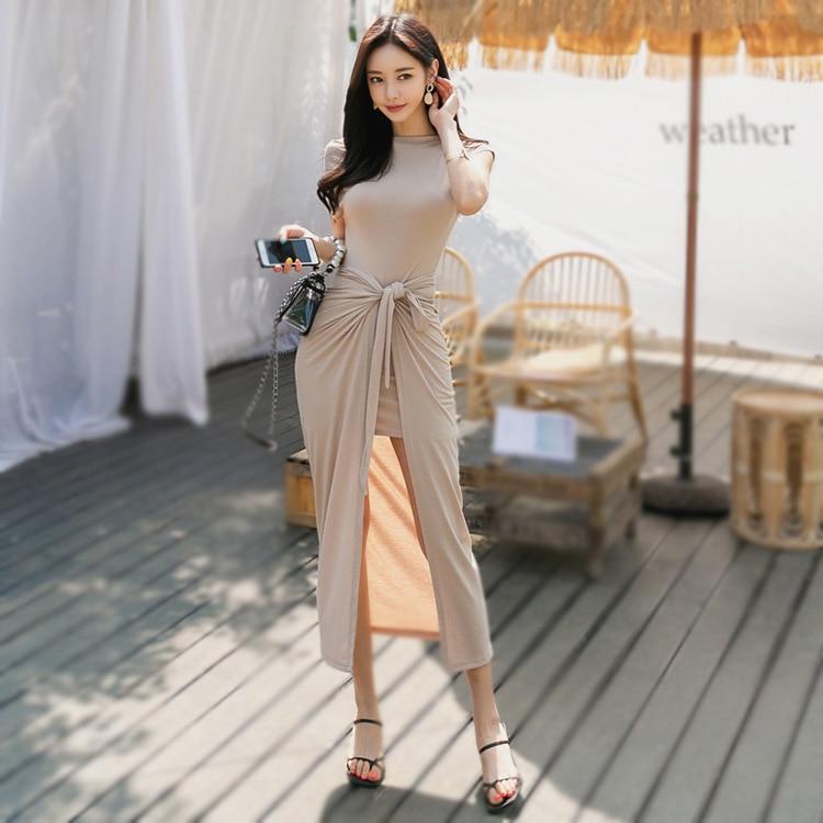 WOMEN'S Suit 2019 Summer Casual Elegant Horizontal Neck Short Sleeve Medium-length T-shirt Sheath Medium-length Dress Two-Piece
