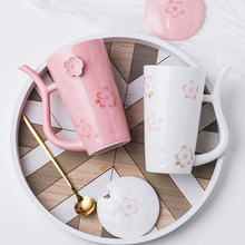 creative cherry pattern ceramic water mug with lid spoon couple coffee cup water mugs straw handle design luckly water cups mug lefard 360 ml with pattern