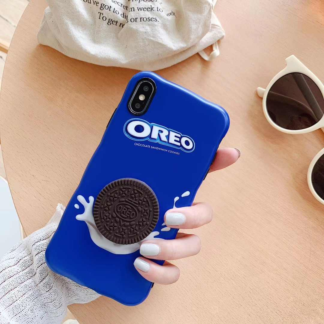 Süper yıldız Oreo sütlü 3D sevimli çikolata bisküvi telefon iphone için kılıf 11 Pro X XR XS MAX 8 7 6 6s artı dalga silikon yumuşak kapak