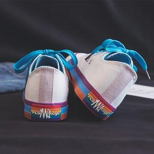 Image 3 - Moda mulher sapatos 2019 antumn arco íris mulher sapatos de lona moda casual retro novas sapatilhas plana rasa vulcanizada sapatos femininos