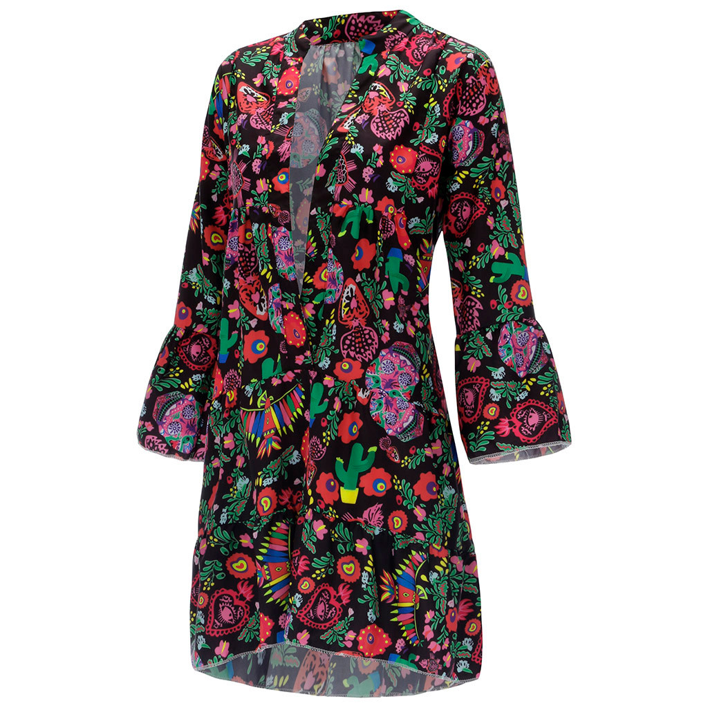H7ad1cabd8bf34affb2399a5e93933f80q Spring Autumn Women Dress Plus Size 5XL Loose Print Long Sleeve V-Collar Button Party Dresses Casual Loose Women Dresses 2019