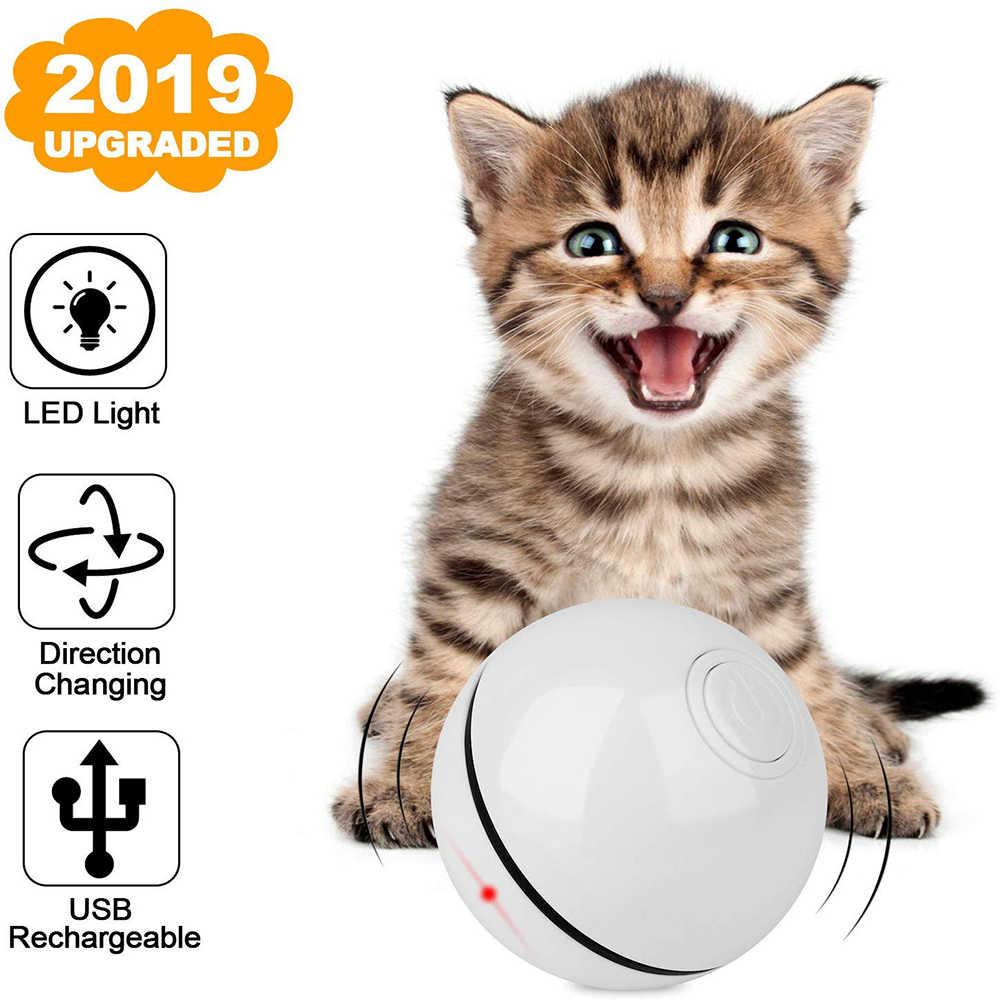 Gatto Giocattolo Palla, USB Ricaricabile 360 Gradi Smart Auto Rotolamento Interattivo Giocattolo Dell'animale Domestico, built-in di Filatura HA CONDOTTO LA Luce per il Gatto Chase Gioco