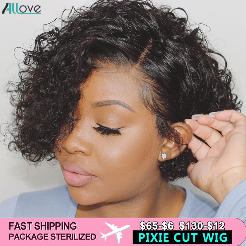 Allove Pixie Cut Wig Short Bob Wig Curly Human Hair Wig Pre Plucked 180 Density Lace Front Human Hair Wigs For Black Women