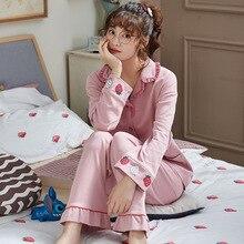 2019 Winter New Ladies Cotton Set Solid Color Sweet Pink Sleepwear 2PCS Women Comfort Thick Female Homewear
