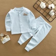 Костюм для маленьких мальчиков и девочек, пальто с длинными рукавами+ длинные штаны, осенне-зимний хлопковый комплект нижнего белья, От 2 до 5 лет, детское термобелье, пижамы