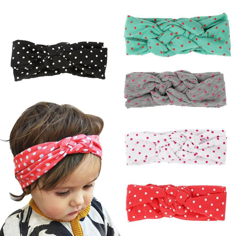 2017 1pc Baby Girls Knot Headband Kids Toddler Polka Dots Elastic Headwrap Children