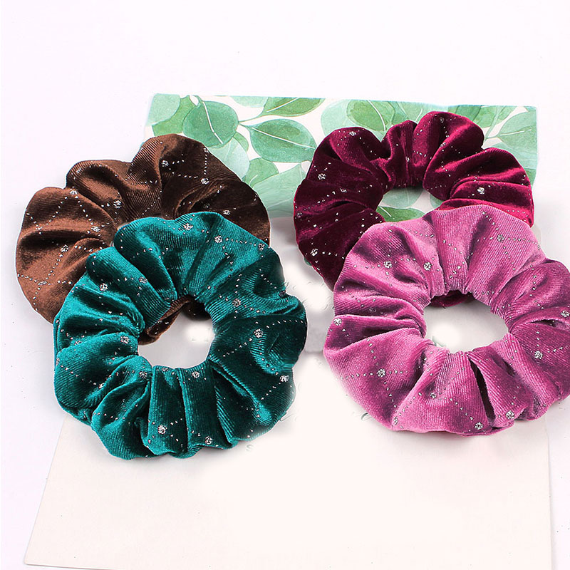 1 PC Solid Color Scrunchies Soft Velvet Rhinestone Elastic Hair Bands Ponytail Holder Wristband  Hair  Ring Rope Rubber Band