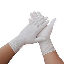 Novo 100 pces/50 par branco luvas de nitrilo descartáveis à prova de óleo impermeável luvas de proteção casa uso industrial