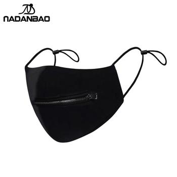 NADANBAO New Design Fashion Zipper Open Mask Washable Cotton Face Cover Cycling Mask Women Black Reusable Masks Adult Outdoor