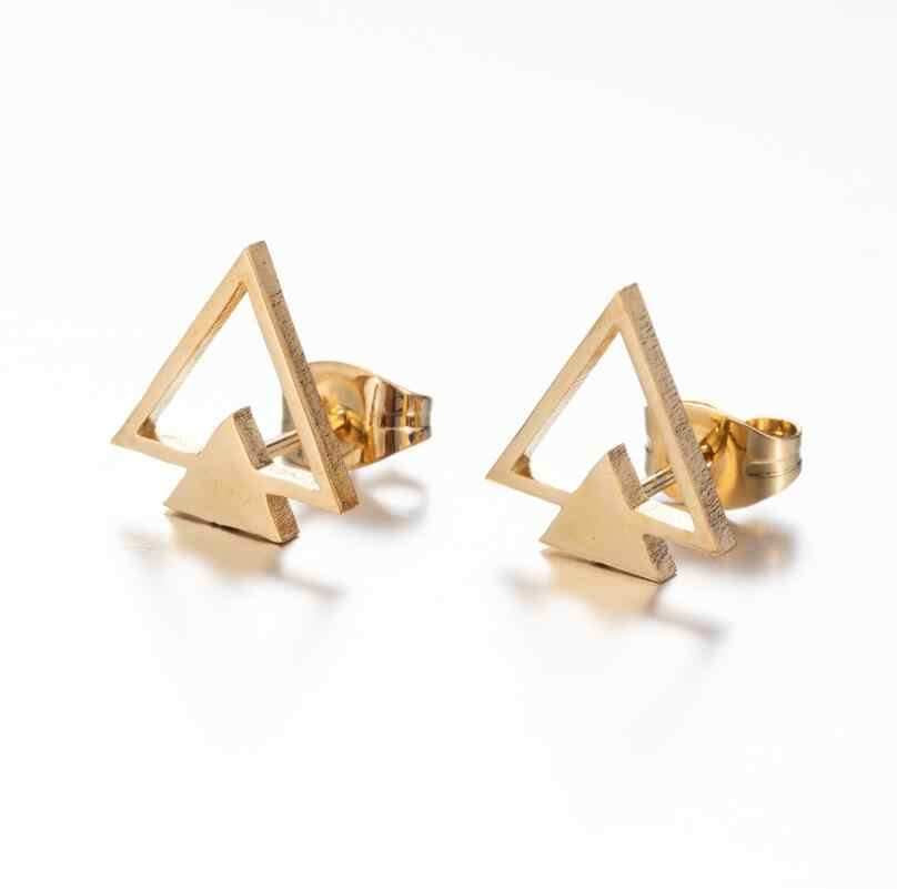 Smjelステンレス鋼三角形のイヤリング男性黒の幾何学的ダブルトライアングルイヤリングピアスジュエリー 2020