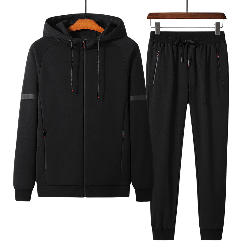 Men's Thickening Cotton Comfortable Jogging Running 2-piece Hooded Zip Outdoor Sports Set Gathered Pants