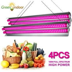 Светодиодный светильник для выращивания растений, 4 шт., 200 Вт, лампа для выращивания растений, полный спектр, для помещений, зеленый тент, фит...