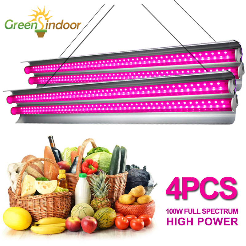 4Pcs LED Grow Light Strip 200W Growing Lamp Full Spectrum For Plants Indoor Green Tent Fitolampy Fitolamp Seeding Flowers Growth
