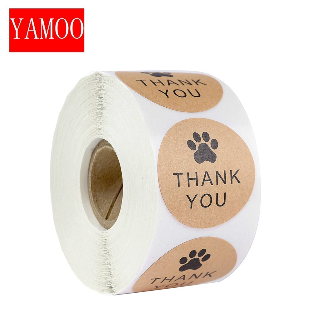 1Inch Natural Kraft Paper Thank You Stickers seal labes Dog Paw Print gift Packaging stationery sticker