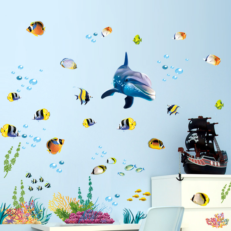 Waterproof Bathroom Kitchen Wall Sticker Ocean Deep Water Sea Home Decor Stickers Dolphin Fish Decorative Decal Mural Kids Room