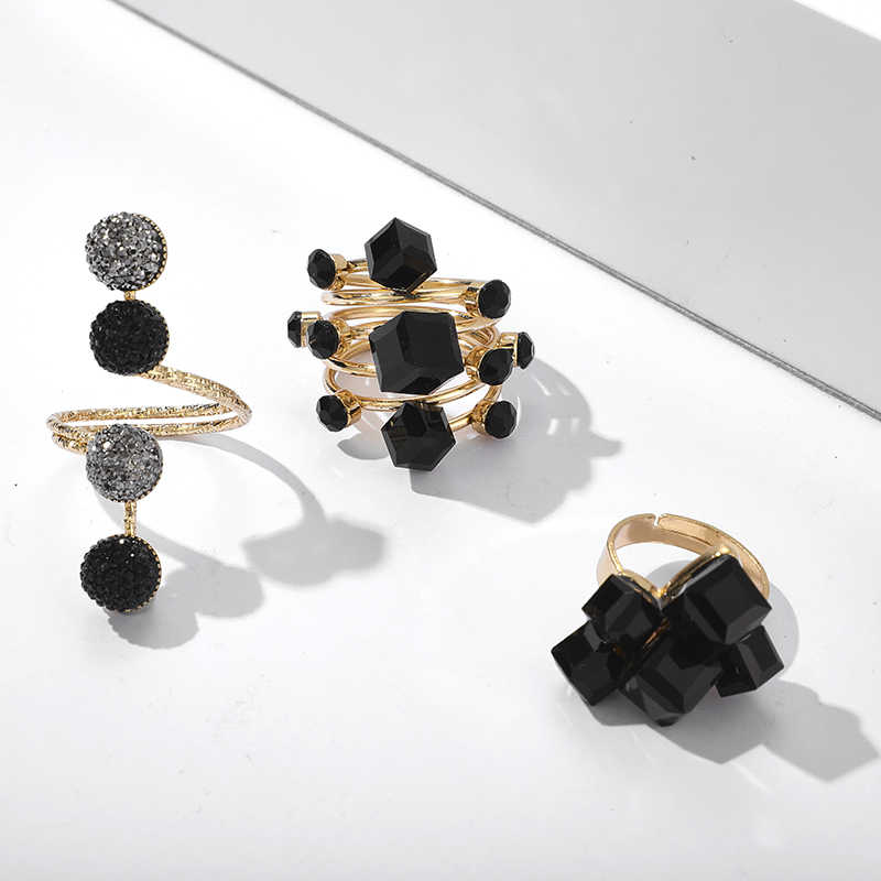 Tocona Vintage Antik Emas Hitam Berlian Imitasi Buka Knuckle Jari Midi Cincin Set untuk Wanita Punk Pernyataan Perhiasan Бижутерия