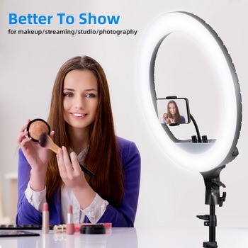 45cm selfie LED RING LIGHT with Tripod Stand for Makeup,Live Streaming & Youtube Video, Dimmable Ring Lamp for Photography