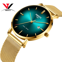 New Men's Watch Unique Design Stainless Steel Mesh Strap NIBOSI Luxury Brand Sports Watch Men's Fashion Casual Date Watch