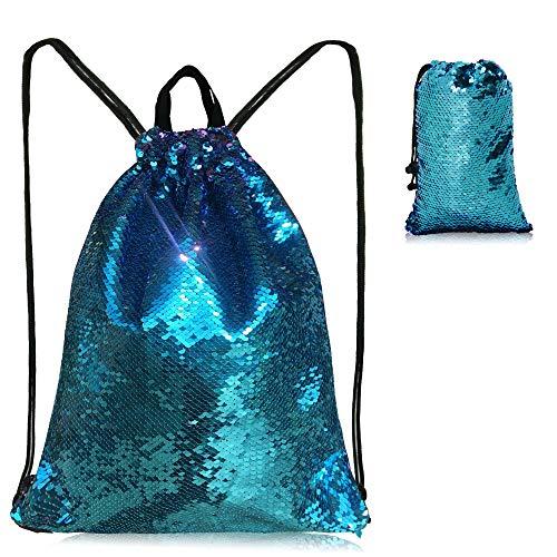 Sequin Drawstring Bag Mermaid Dance Backpack For Girls Women Swimming Traveling