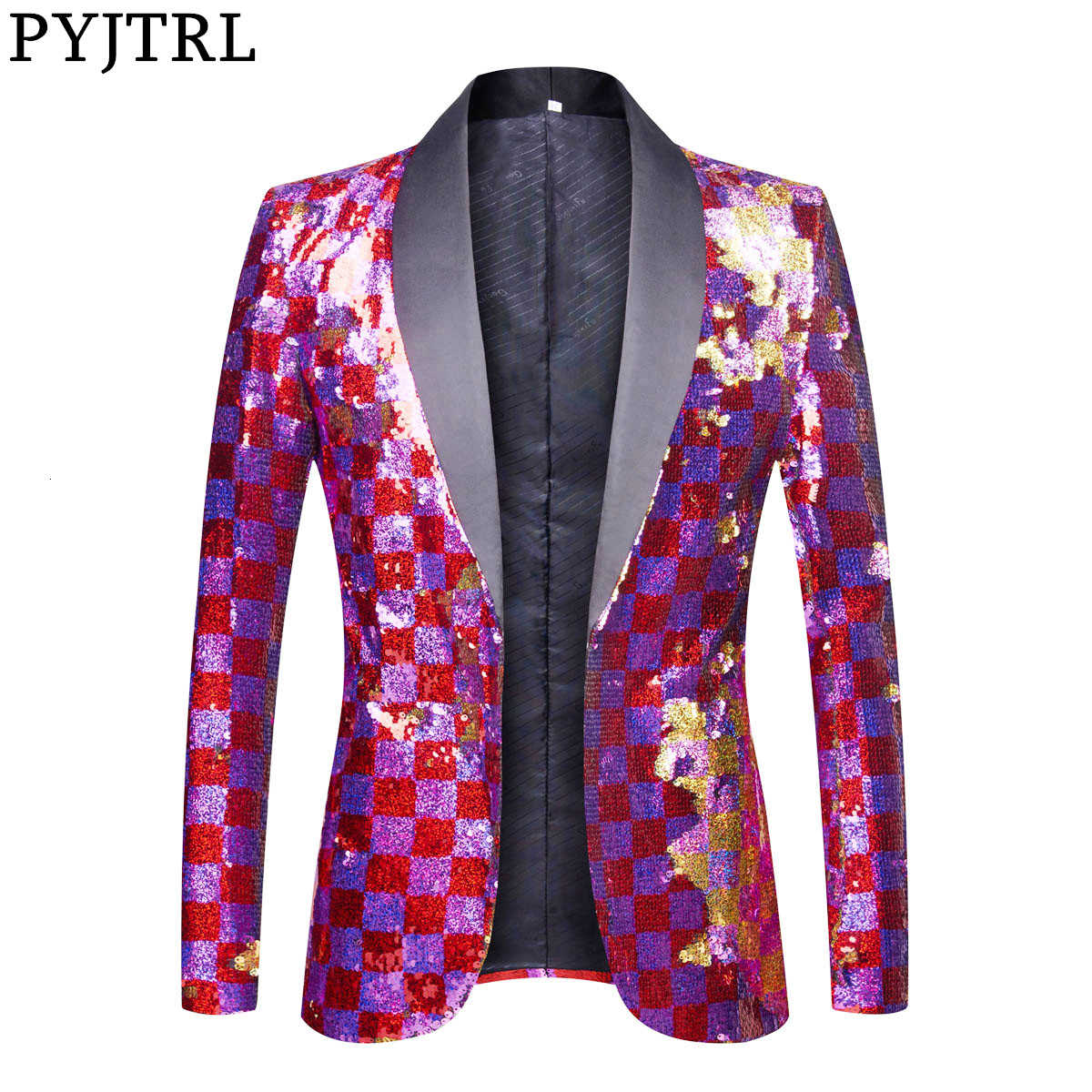 PYJTRL New Men Double-sided Colorful Plaid Purple Red Gold Pink Sequins Blazer Design DJ Singer Suit Jacket Fashion Outfit