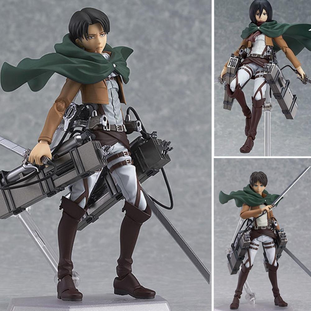 Attack on Titan Anime Figure Toys PVC Eren Jaeger #207 Mikasa #203 Levi Ackerman #213 Action Figurine Model Doll Brinquedos Gift