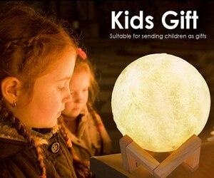 16 цветов s светодиодный ночник 3D Луна лампа Изменение цвета перезаряжаемая 3D сенсорная луна лампа детская Ночная лампа для дома рождественс...