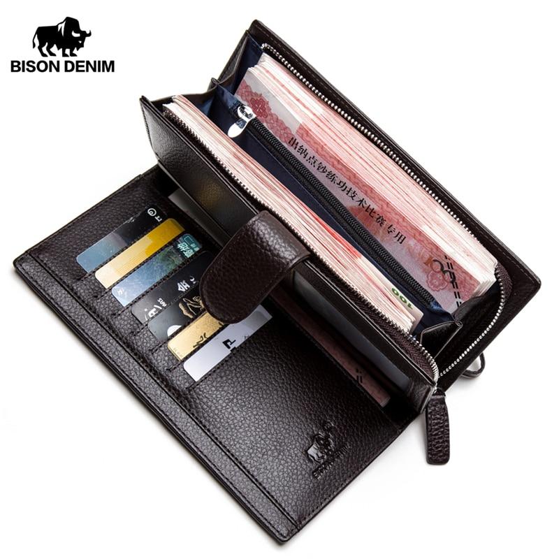 BISON DENIM Luxury Brand Men Wallet Cowskin Leather Men's Purse Zipper Pocket Quality Male Clutch Genuine Leather Purse N8206