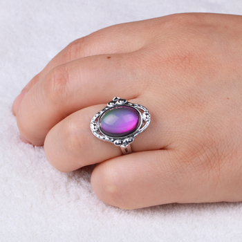 Silver color retro Adjustable mood Rings for Women temperature control color heart oval round butterfly  Fashion Jewelry 2020 1