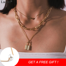 Lacteo Punk Golden Multi Layer Lock Pendant Necklace for Women Statement Love Heart Short Chain Collar Necklaces Jewelry Gifts