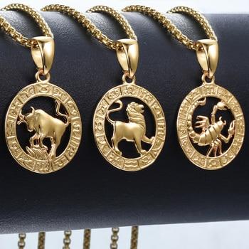 Las mujeres de los hombres de 12 horóscopo, Zodíaco signo colgante de oro collar Aries Leo venta al por mayor Dropshipping. Exclusivo. Las 12 Constelaciones de GPM24