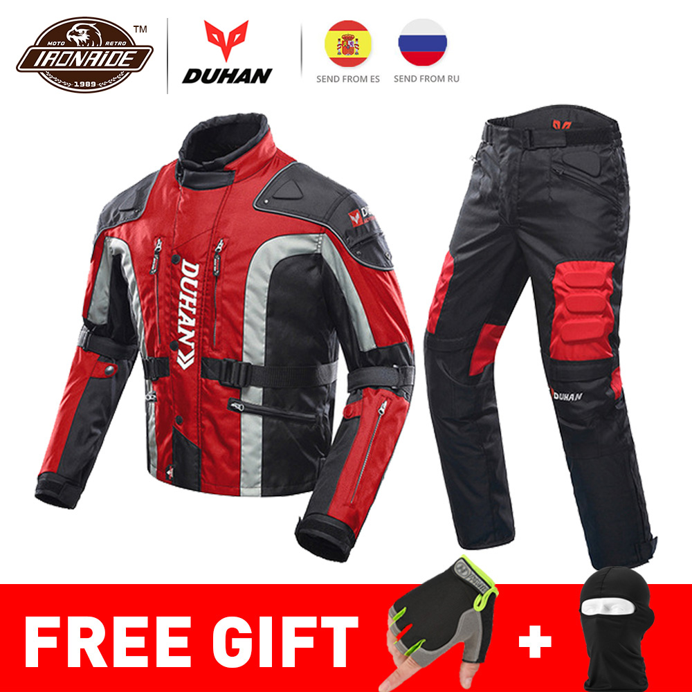 DUHAN Autumn Winter Cold-proof Motorcycle Jacket Moto+Protector Motorcycle Pants Moto Suit Touring Clothing Protective Gear Set