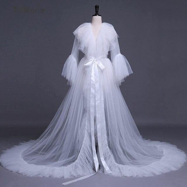 Black Wedding Dresses Women Sleepwear Bath Robe Evening Gowns Ruffles Customize