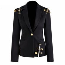 Elegant Women's Blazer Notched Hollow Out Patchwor