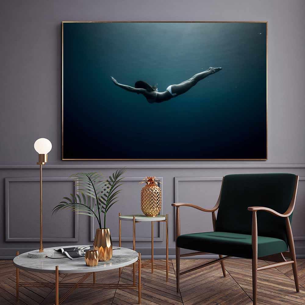Картина маслом, Постер богини синего океана для дайвинга, Подарочная картина, Картина на холсте для гостиной, коридора, украшение для дома