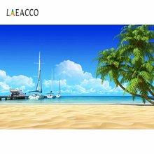 Laeacco Летний морской пляж пальмы парусная лодка фото фон Декор