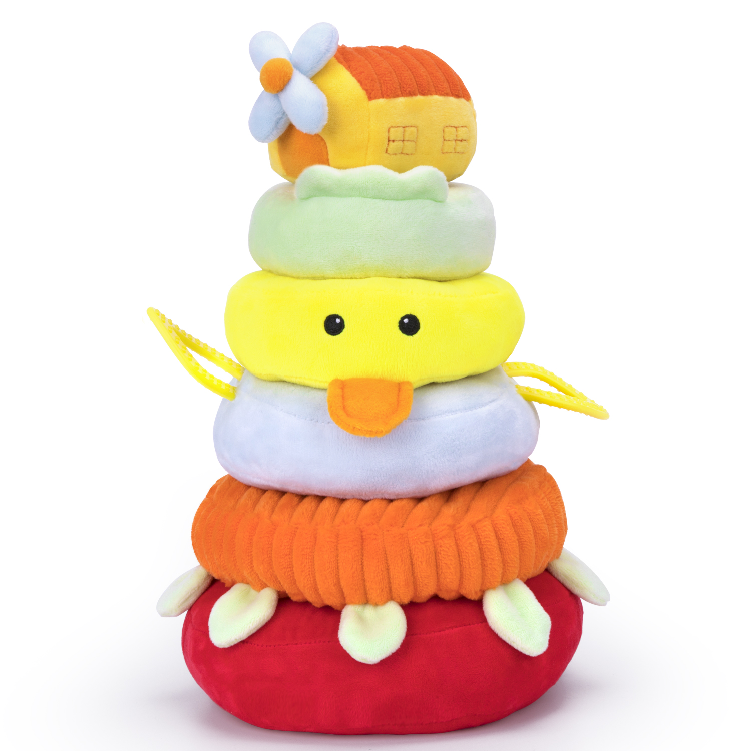 iPlay, iLearn Baby Stacking Toys, Soft Fabric Ring Stacker, Plush Duck Nesting Toy W/ Sound, Early Education
