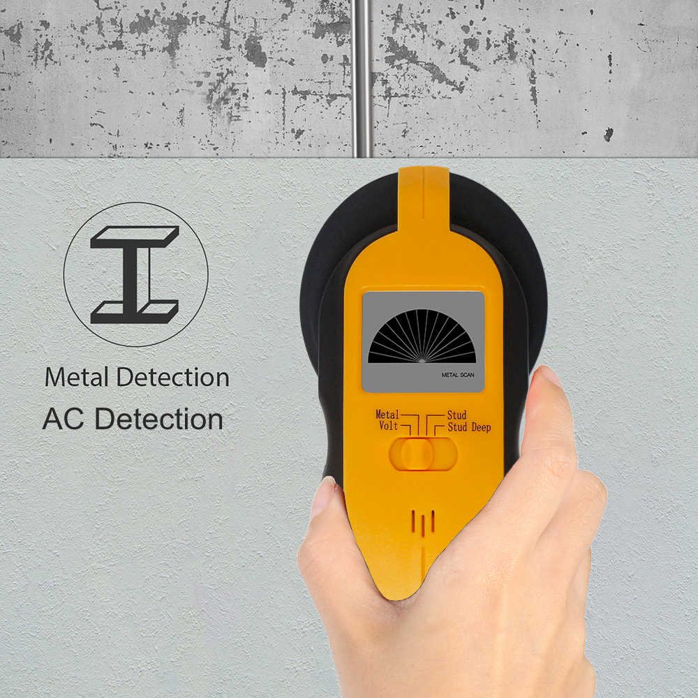LCD Stud Finder AC Cable Live Wire Warning Detection Wall Metal Detector Digital Wood Stud Center Finder