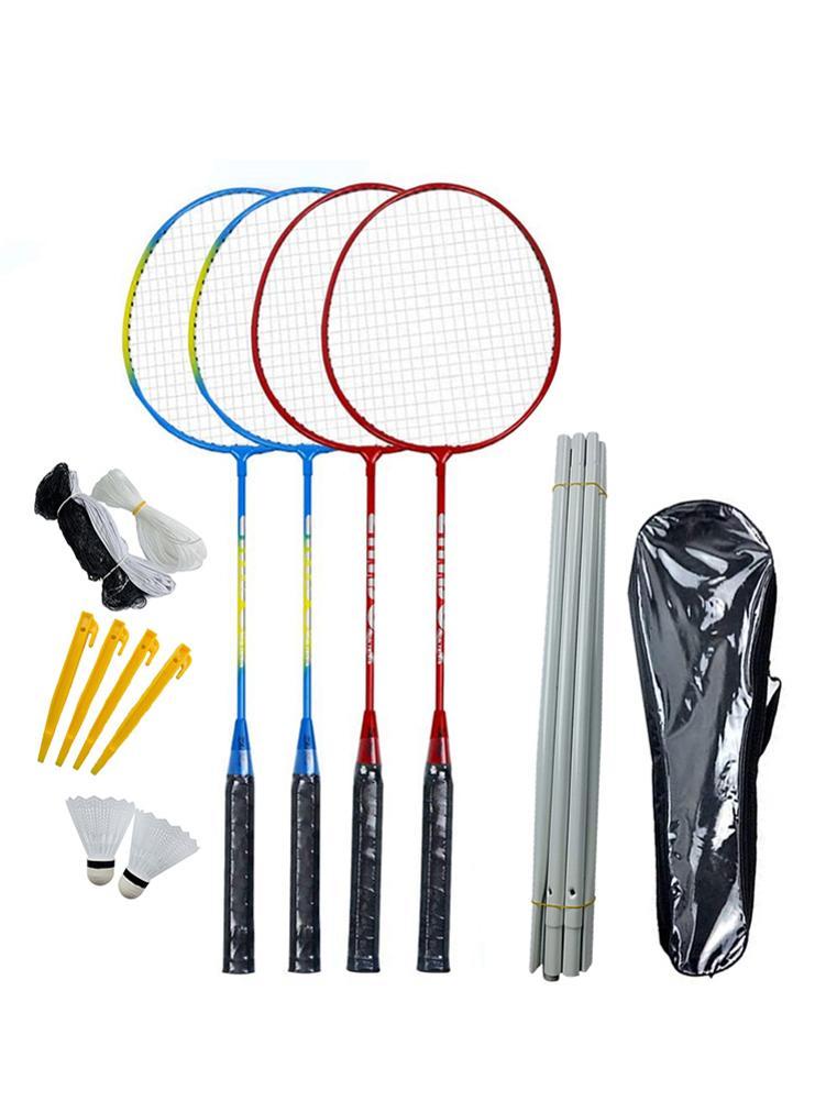 4 Iron Alloy Rackets Badminton Set Portable Outdoor Badminton Combination Set Badminton Net System With 2 Shuttlecocks