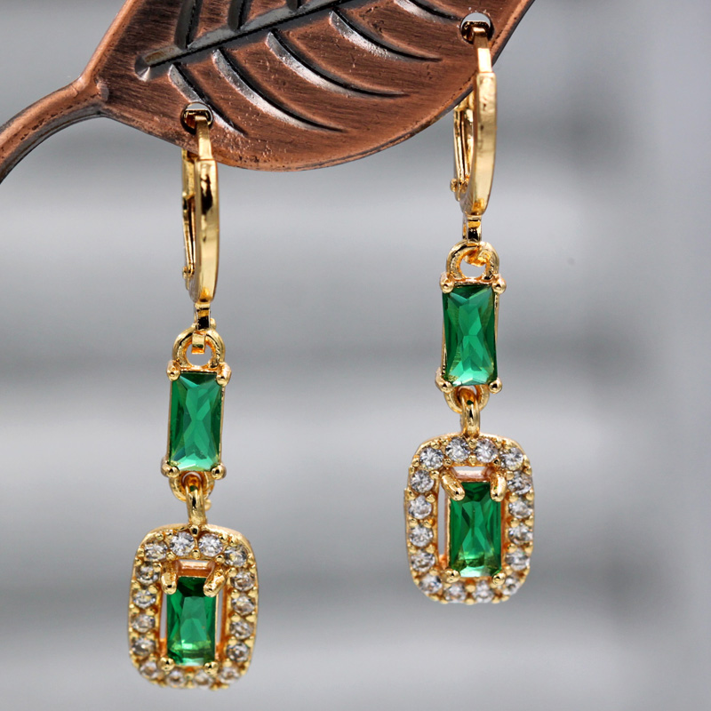 H7ad3824cfe74442092788e52467b4c849 - Trendy Vintage Drop Earrings For Women Gold Filled  Red Green Pink Lavender Zircon Earrings Gold  Earring Wedding  Jewelry