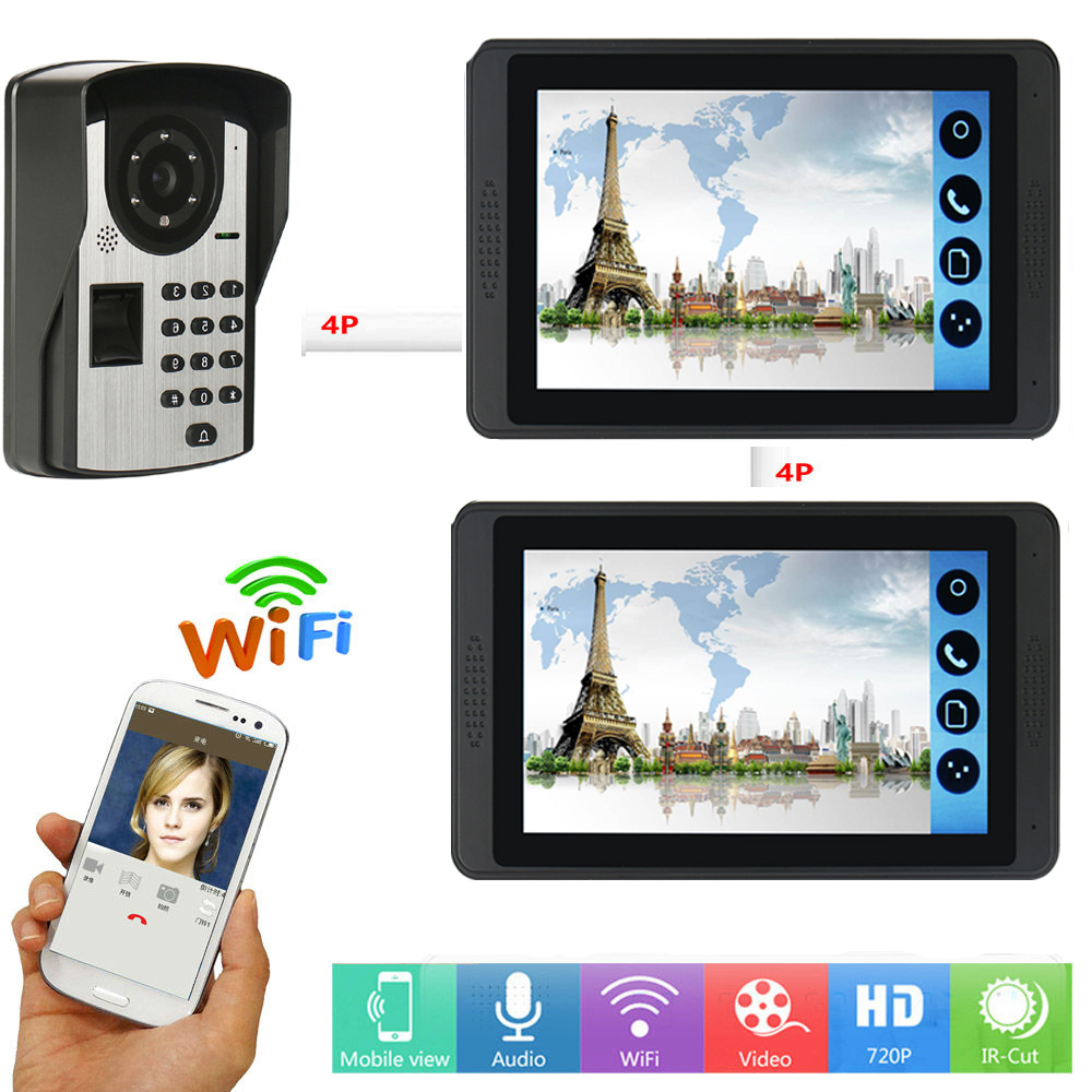 RFID Password Fingerprint Video Intercom 7 Inch LCD Wifi Wireless Video Door Phone Doorbell Intercom Camera System APP Control