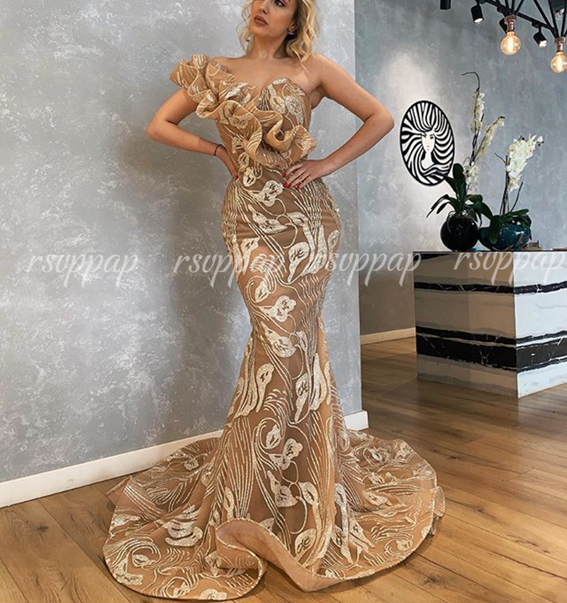 See Through Sexy Mermaid Dubai Arabic Ladies Formal Party Gowns Silver Glitter Champagne Long Evening Dresses 2020