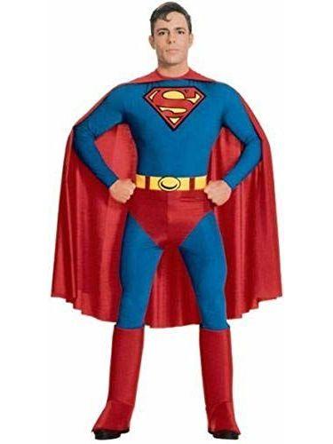 Hombre Superman Disfraz Clásico Stretch Disfraz Jumpsuit Outfit S–XL